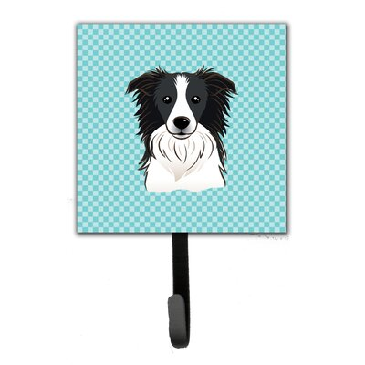 Checkerboard Border Collie Leash Holder and Wall Hook