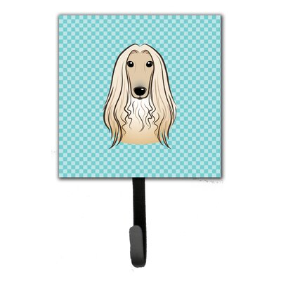 Checkerboard Afghan Hound Leash Holder and Wall Hook