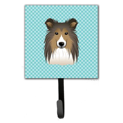Checkerboard Sheltie Leash Holder and Wall Hook