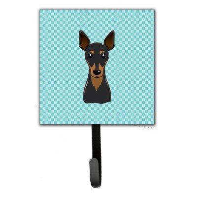Checkerboard Min Pin Leash Holder and Wall Hook