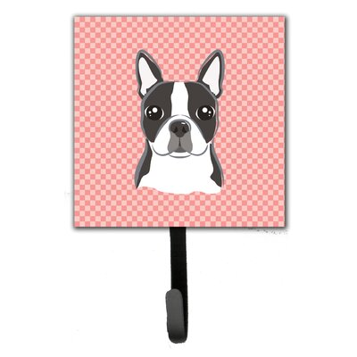 Checkerboard Boston Terrier Wall Hook