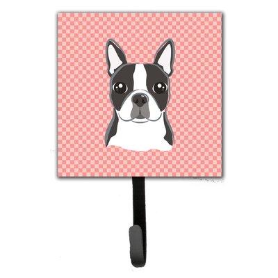 Checkerboard Boston Terrier Wall Hook
