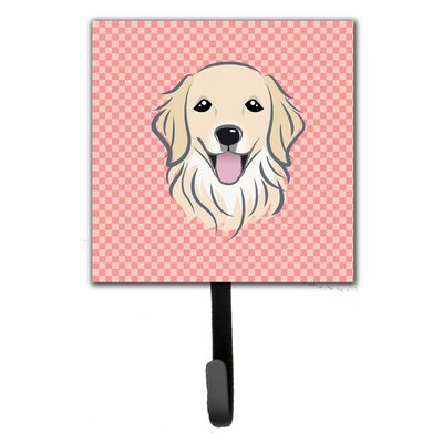Checkerboard Golden Retriever Wall Hook