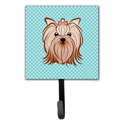 Checkerboard Yorkie Yorkshire Terrier Leash Holder and Wall Hook