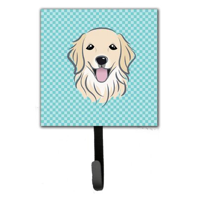 Checkerboard Golden Retriever Leash Holder and Wall Hook