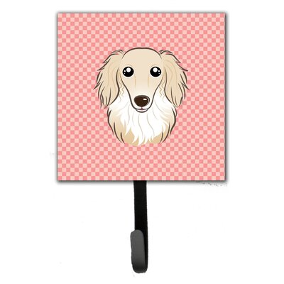 Checkerboard Longhair Creme Dachshund Wall Hook