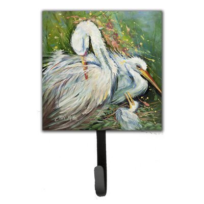 Egret in The Rain Leash Holder and Wall Hook