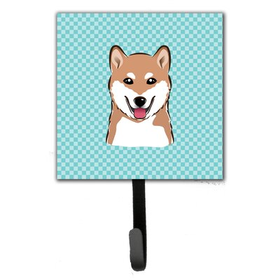Checkerboard Shiba Inu Leash Holder and Wall Hook