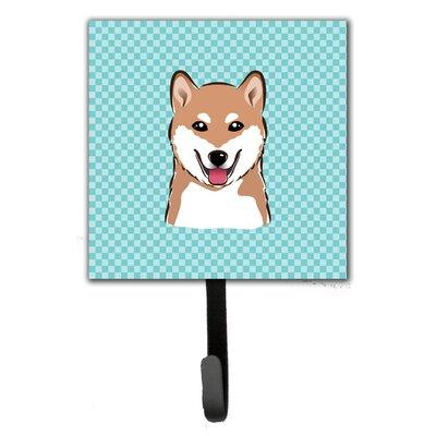 Checkerboard Shiba Inu Leash Holder and Wall Hook