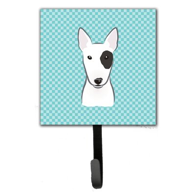 Checkerboard Bull Terrier Leash Holder and Wall Hook
