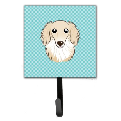 Checkerboard Longhair Creme Dachshund Leash Holder and Wall Hook