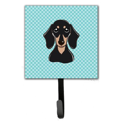 Checkerboard Smooth Dachshund Leash Holder and Wall Hook