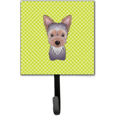 Checkerboard Yorkie Puppy Leash Holder and Wall Hook