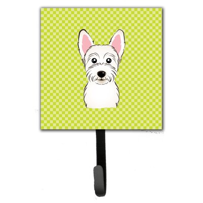 Checkerboard Westie Leash Holder and Wall Hook