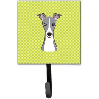 Checkerboard Italian Greyhound Leash Holder and Wall Hook