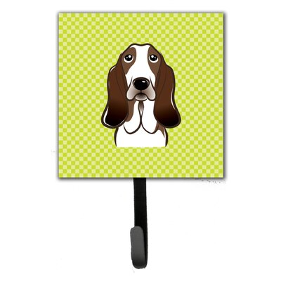 Checkerboard Basset Hound Leash Holder and Wall Hook