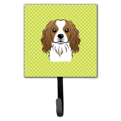 Checkerboard Cavalier Spaniel Leash Holder and Wall Hook