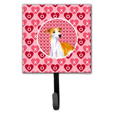 Whippet Valentine's Love and Hearts Leash Holder and Wall Hook
