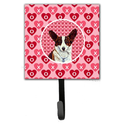 Corgi Valentine's Love and Hearts Leash Holder and Wall Hook