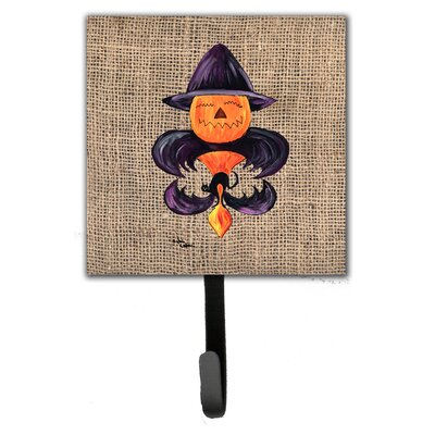 Halloween Pumpkin Bat Fleur De Lis Leash Holder and Wall Hook