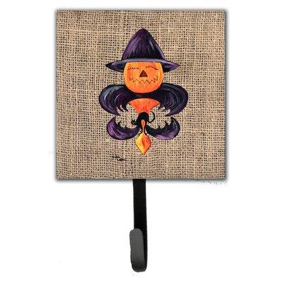 Halloween Pumpkin Bat Fleur De Lis Leash Holder and Wall Hook