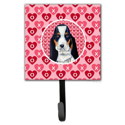 Basset Hound Valentine's Love and Hearts Leash Holder and Wall Hook