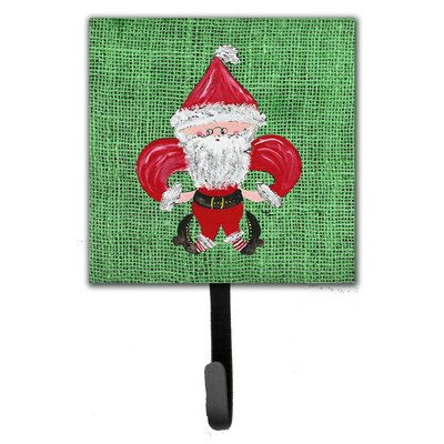 Christmas Santa Fleur De Lis Leash Holder and Wall Hook
