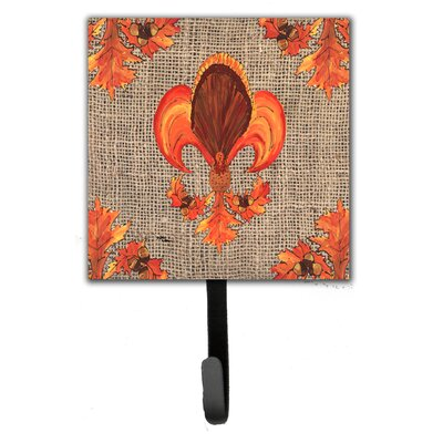 Thanksgiving Turkey Fleur De Lis Leash Holder and Wall Hook