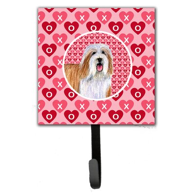 Bearded Collie Valentine's Love and Hearts Leash Holder and Wall Hook