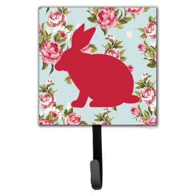 Rabbit Shabby Elegance Roses Leash Holder and Wall Hook