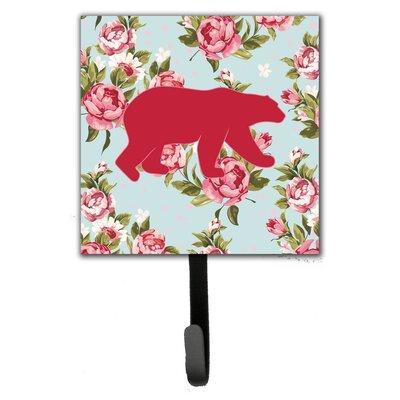 Bear Shabby Elegance Roses Leash Holder and Wall Hook