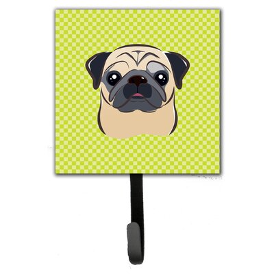 Checkerboard Fawn Pug Leash Holder and Wall Hook
