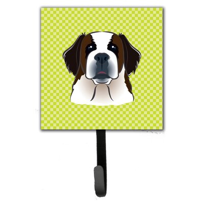 Checkerboard Saint Bernard Leash Holder and Wall Hook