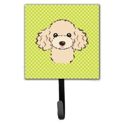 Checkerboard Buff Poodle Leash Holder and Wall Hook