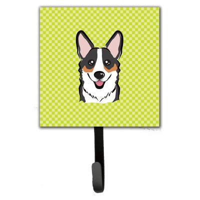 Checkerboard Corgi Leash Holder and Wall Hook