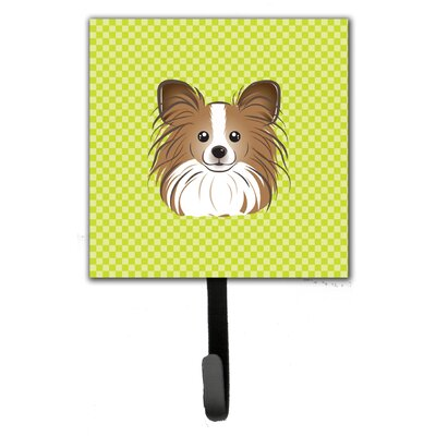 Checkerboard Papillon Leash Holder and Wall Hook
