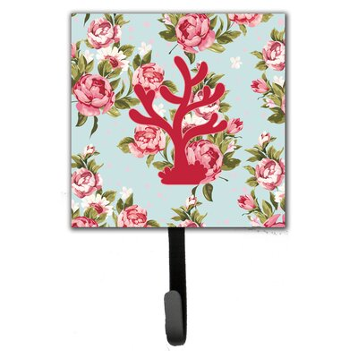 Coral Shabby Elegance Roses Leash Holder and Wall Hook