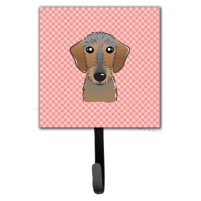 Checkerboard Wirehai Dachshund Leash Holder and Wall Hook