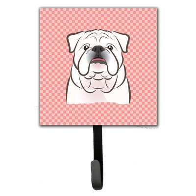 Checkerboard English Bulldog Leash Holder and Wall Hook