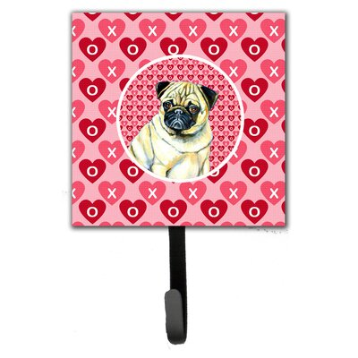 Pug Valentine's Love and Hearts Leash Holder and Wall Hook