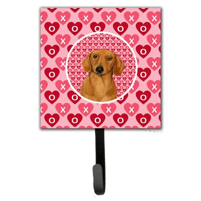 Dachshund Valentine's Love and Hearts Leash Holder and Wall Hook