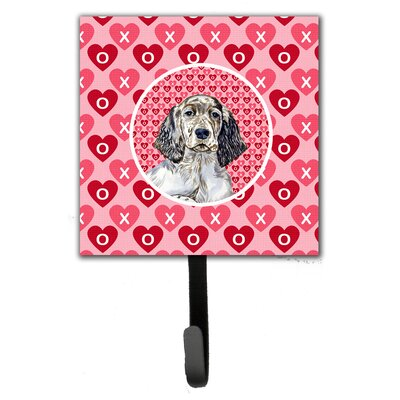 English Setter Valentine's Love and Hearts Leash Holder and Wall Hook