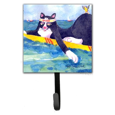 Cat Surfin Bird Leash Holder and Wall Hook