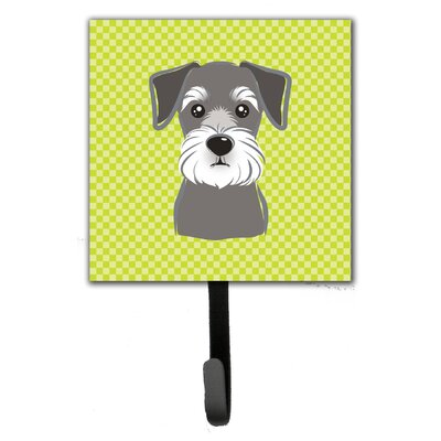 Checkerboard Schnauzer Leash Holder and Wall Hook