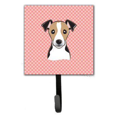 Checkerboard Jack Russell Terrier Leash Holder and Wall Hook