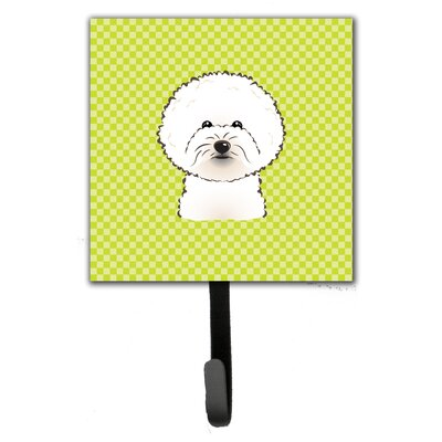 Checkerboard Bichon Frise Leash Holder and Wall Hook