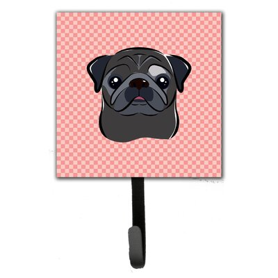Checkerboard Pug Leash Holder and Wall Hook