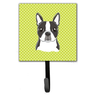 Checkerboard Boston Terrier Leash Holder and Wall Hook