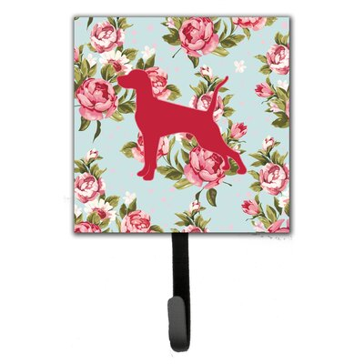 Pointer Shabby Elegance Roses Leash Holder and Wall Hook