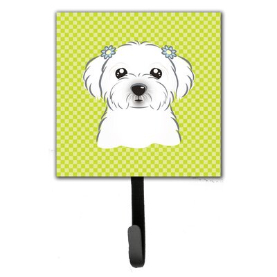 Checkerboard Maltese Leash Holder and Wall Hook